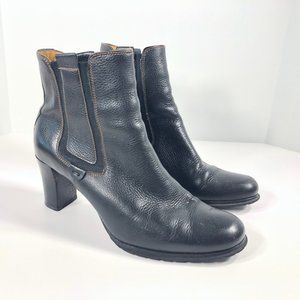 Cole Haan Black Pebbled Leather Heeled Ankle Boots